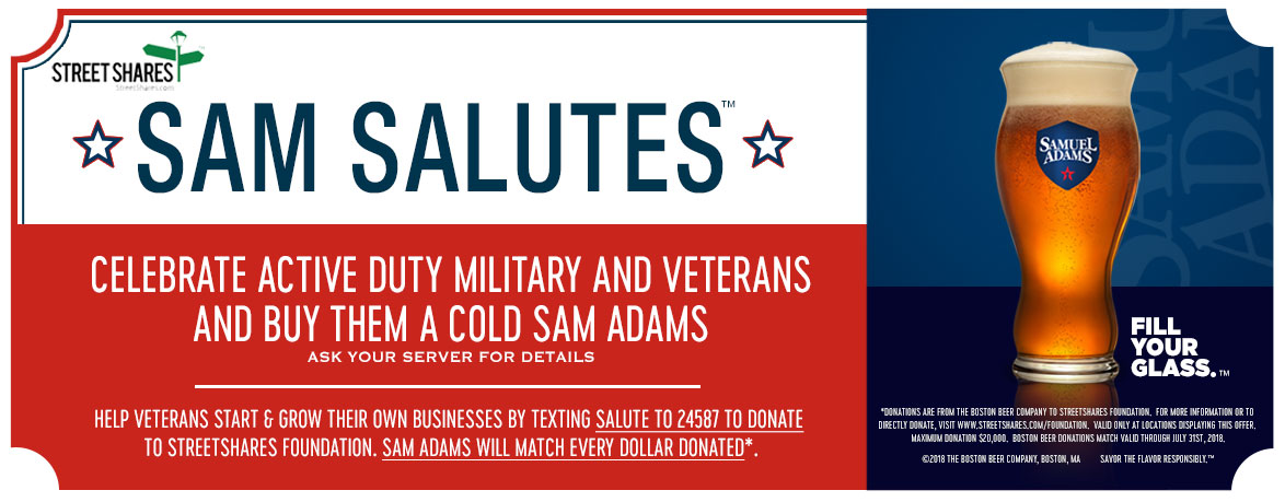 Sam Salutes - Celebrate Active Duty Military and Veterans and Buy Them a Cold Sam Adams